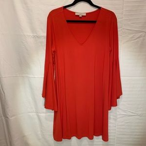 LOFT Red Dress with Bell Sleeves